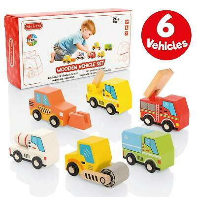 Milly & Ted 6 Wooden Vehicle Set - Childrens Push-Along Play Cars & Trucks • 10.99£