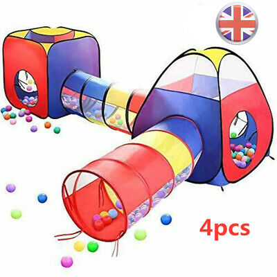 4pcs Pop Up Tent Toddlers Crawl Tunnel Baby Playhouse Ball Pit Kids Play Tent • 32.39£