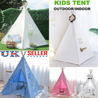 KIDS Indian Teepee Tent Canvas Children Wigwam PlayHouse Outdoor Toys Xmas Gift • 26.93£