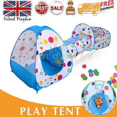 3 IN 1 Kids Tunnel Tents Pool Pop Child Baby Tent Balls Fairy Playhouse Indoor • 20.99£