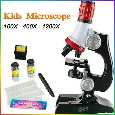 Children Science Lab Microscope Kit Set 100/400/1200x With Light Educational Toy • 12.89£
