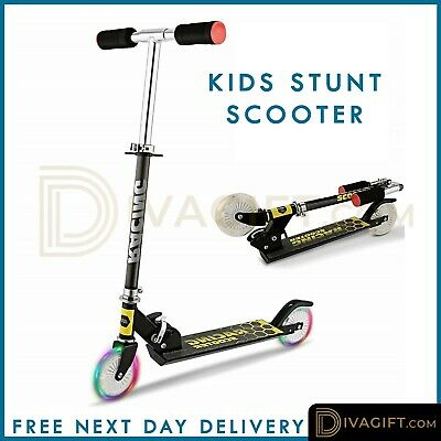 Kids Pro Stunt Scooter Fixed Bar 360 Degree Street Kick Push Aluminium Frame • 21.49£