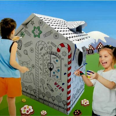 Colour Your Own Gingerbread House Childrens Playhouse Kids Cardboard Wendy Tent • 16.99£