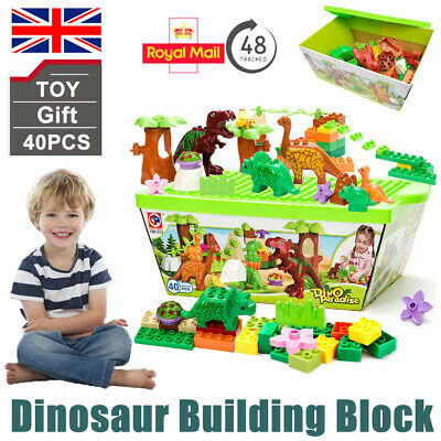 Set Of 40 Dinosaur Jurassic Building Block Educational Toy For Children Kid Gift • 21.99£