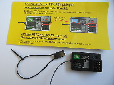 New Absima 2.4ghz R3FS 3-Channel Receiver Only For CR2S.V2 Or Ansmann W5/R5 • 14.74£