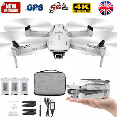 S162 RC Drone 4K HD Camera GPS 5G WIFI FPV Foldable Quadcopter 3 Batteries E2X0 • 90.70£