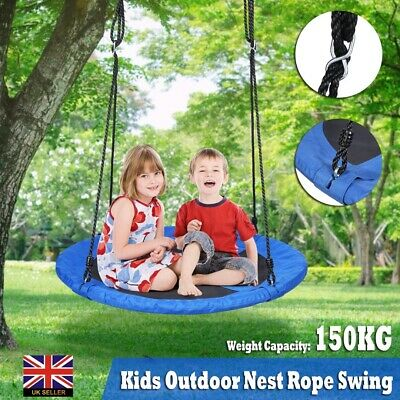 Round Swing Kids Game Tree Spin Children Rope Steel φ100cm Playroom Outdoor Yard • 33.99£