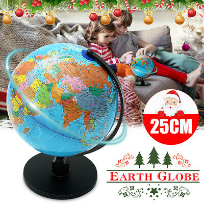 25cm Plastic Rotating World Globe Map Earth Stand Geography Kids Children Gifts • 12.99£