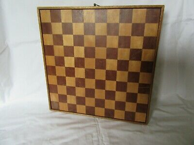 Vintage Inlaid Wood Chess Board 30 X 30 Cm Double Sided With Hangingfixture • 10£
