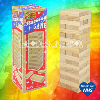 54 Piece Retro Stacking Tumbling Wood Block Game Children's Kids Wooden Jenga  • 5.45£