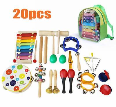 20PCs Wooden Kids Baby Musical Instruments Set Toys Music Percussion Children UK • 23.99£