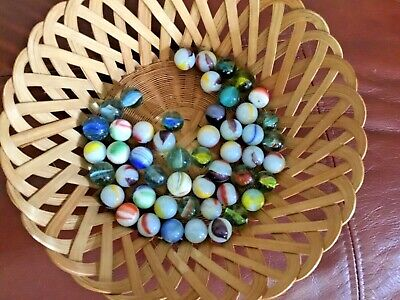 50 MIXED  GLASS MARBLES Various Colours. • 4£