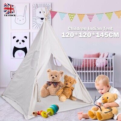 Portable Children Indian Tent Play Sleeping Teepee House Indoor Canvas Christmas • 4£