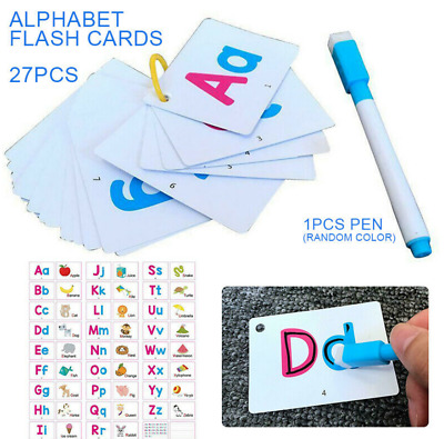 A-Z Kids Alphabet Flash Cards Toddlers Preschool Early Learning Erasable Pen • 2.99£