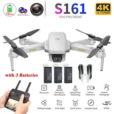 S161 RC Drone Camera 4K HD Altitude Hold Foldable Selfie Quadcopter 3 Batteries • 51.99£