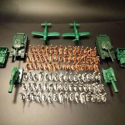 Toy Army Men Set - 100 Grey/brown Soldiers, Tanks, Jeeps, Aircraft And Artillery • 10.99£