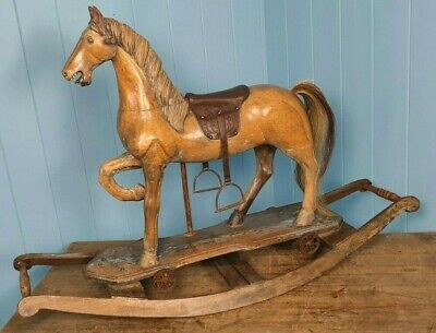 Rocking Horse Antique Edwardian 1906 Hand Carved Beautiful Patina Horsehair Tail • 395£