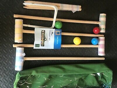 Four Person Woodem Croquet Set Never Used • 10£