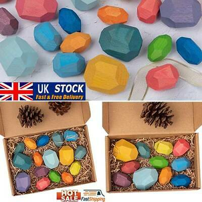 Children Wood Colored Stone Stacking Game Building Block Education Toy UK Stock • 12.93£