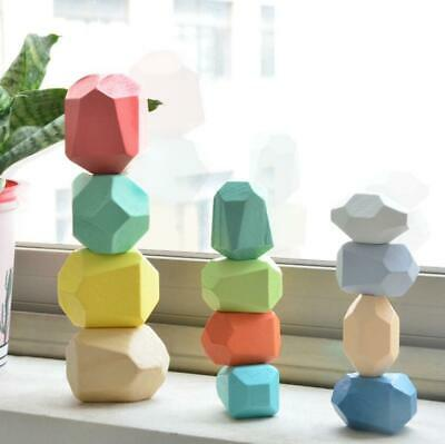 Creative Wooden Colored Stacking Balancing Stone Building Blocks Educational Toy • 17.99£