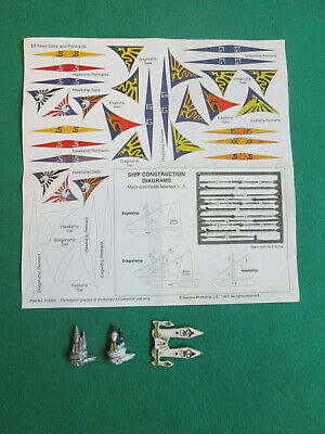 High Elf Dragonship & Sails Pennants Sheet - Man O War - Metal - Warhammer • 19.99£
