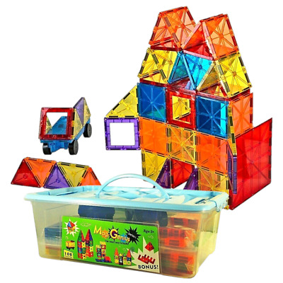 Magnet Tiles Magna Award Winning Building Magnetic Toy 108/pc +Storage Container • 42.99£