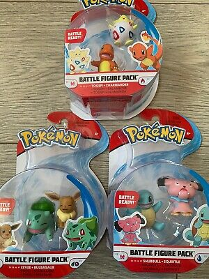 Pokemon Battle Figure Set Togepi And Charmander, Snubbull And Squirtle, Eevee  • 20.95£