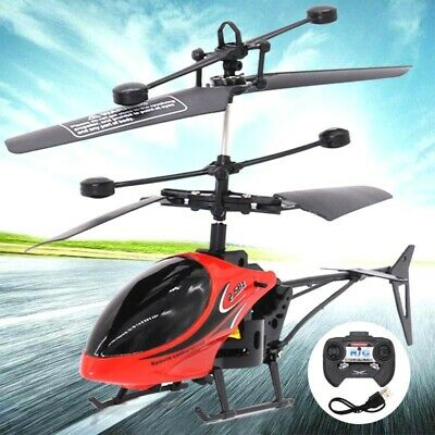 Kids Children Flashing Helicopter Drone Flying Toys Plane Gifts W/Remote Control • 10.99£