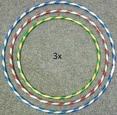 3 X Multi Colour Kids ADULT Hula Hoop Durable Plastic Indoor Outdoor Fitness • 7.99£