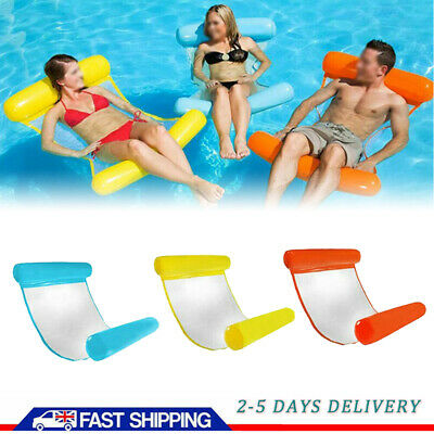 Summer Inflatable Floating Water Hammock Pool Lounge Bed Swimming Chair Hot UK • 6.39£