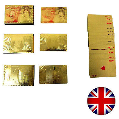 24K Gold Pound Euros Dollars Gold Poker Plated Playing Cards Novelty UK • 1.96£