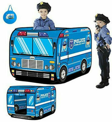 Kids Play Tent Pop Up Police Car Foldable Boys Playhouse Indoor Outdoor Toys • 13.99£