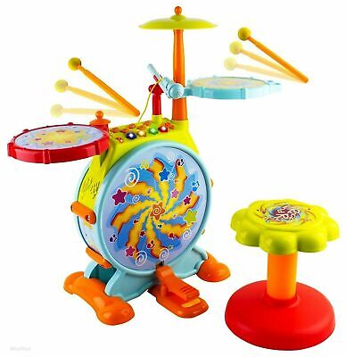 Kids Toddler First Electric Drum Kit Set With Mic And Seat CHILDREN MUSICAL TOY • 32.99£