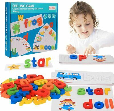 Wooden Developmental Toys Puzzle Preschool Spelling Game Matching Letter Game UK • 8.55£
