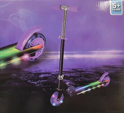 New Light Up Scooter Inline Foldable LED Wheel Junior Boys Girls Ride Purple • 28.95£