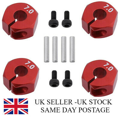 1/10 Scale RC Car 12mm Alloy Wheel Locking Drive Hex Hubs Adapter Nut Red 7mm • 4.99£