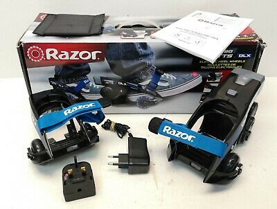 Razor Turbo Jetts DLX Electric Heel Wheels Skates Black/Blue Boxed • 29.99£