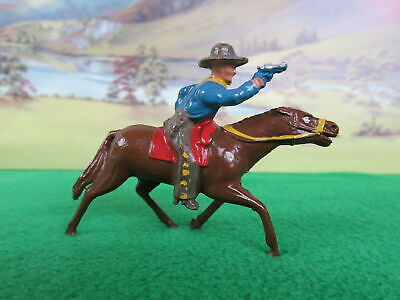 Crescent Lead Cowboy On Horseback Firing A Gun • 8.99£