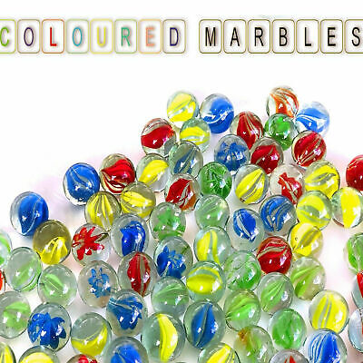 40pc Coloured Glass Marbles HI-QUALITY Kids Toys Vintage Traditional Games Retro • 3.40£