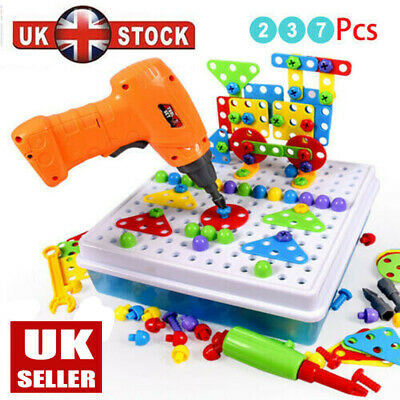 237Pcs Set Mosaic Building Blocks Peg Electric Drill Assemble Toy Christmas Gift • 19.96£