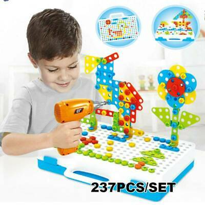 3D Mosaic Electric Drill Puzzle Toy Set Kids Building Model Blocks Assembly Gift • 18.95£