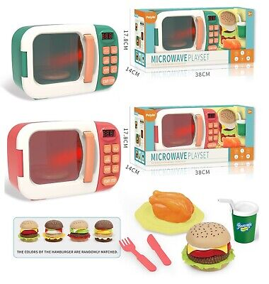 Childrens Toy Kitchen Microwave Oven & Food Realistic Role Play Lights & Sounds  • 11.95£