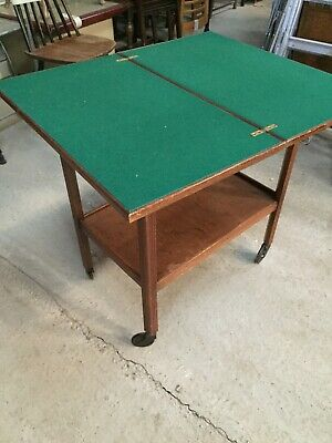 Vintage Foldaway Games Table On Wheels Poker Cards   15/9/A • 29.99£