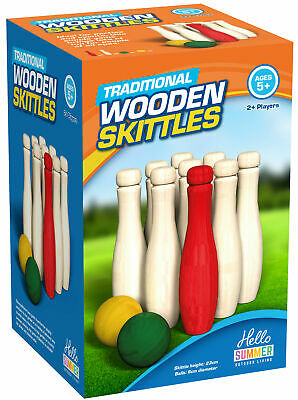 Wooden Skittles Garden Game Outdoor Indoor Skittle Bowls Pin Bowling Large Size • 14.99£