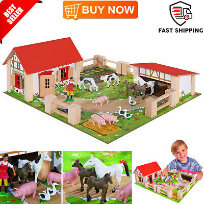 Small Farm Yard Wooden 21Pc Kids Toddler Childrens Toy Play Set Animals Fences • 31.55£