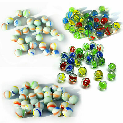 Glass Marbles Hi-Quality Milky Multi Coloured Kids Toy Traditional Retro Classic • 6.10£