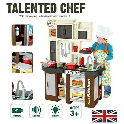 Role Play Kids Kitchen Playset With Real Cooking And Water Boiling Sounds UK Hot • 124.18£