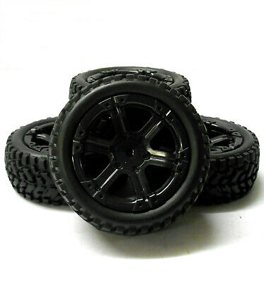 9103 1/10 Scale RC Car Off Road Dual Spoke Wheel And Rally Tread Tyre Black X 4 • 14.99£