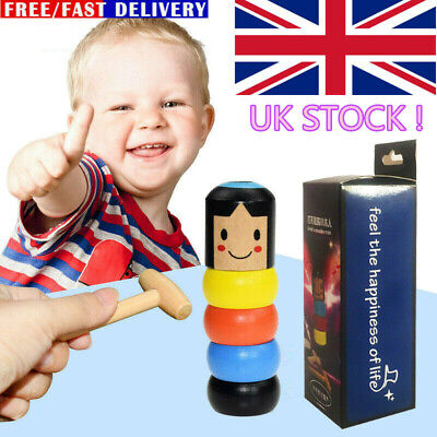 Kids Unbreakable Wooden Magic Toy The Wooden Stubborn Man Funny XMAS Gifts UK • 4.99£