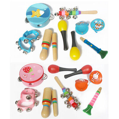 10PCS Wooden Kids Music Instruments Kit Toys Children Toddlers Percussion Sets • 12.99£